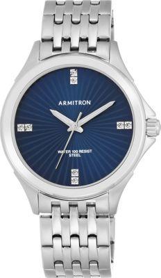 Armitron Men's Silver-Tone with Blue Dial Watch Blue/Silver - Armitron Watches