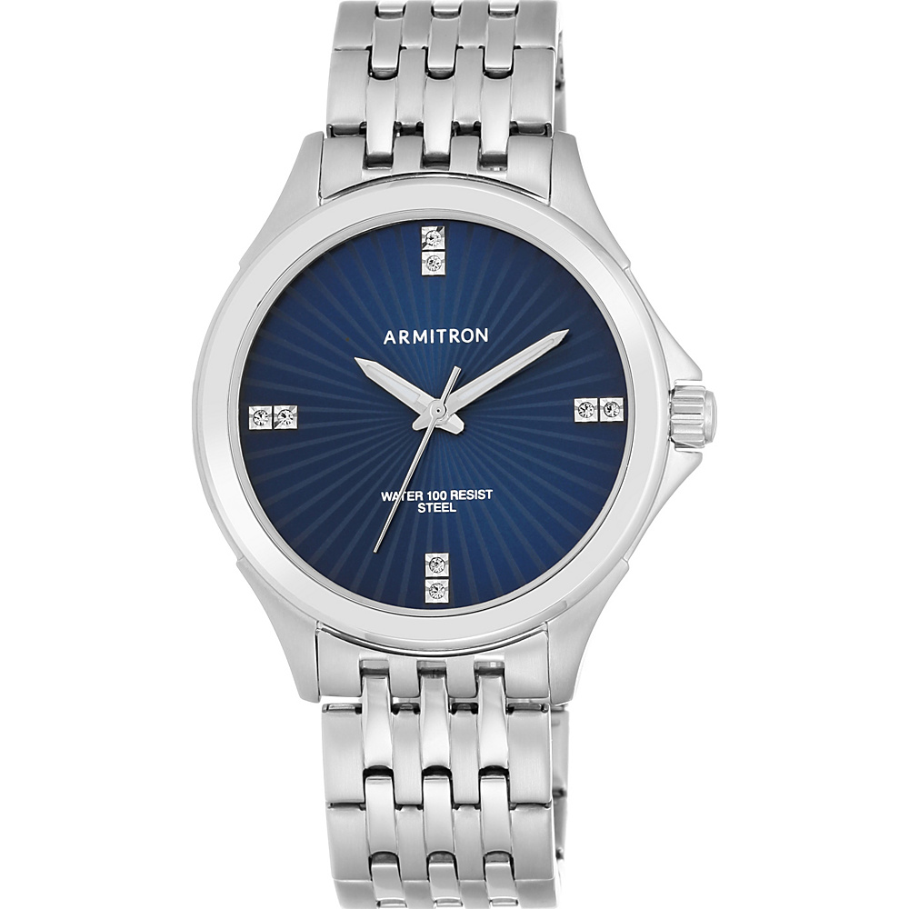 Armitron Men s Silver Tone with Blue Dial Watch Blue Silver Armitron Watches