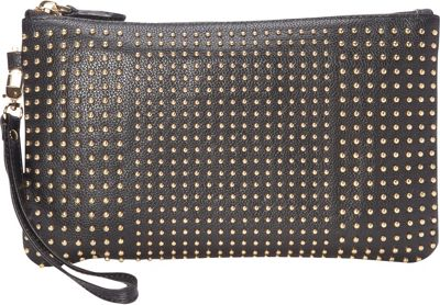 HButler The Mighty Purse Phone Charging Stud Wristlet Black with Gold Studs - HButler Leather Handbags