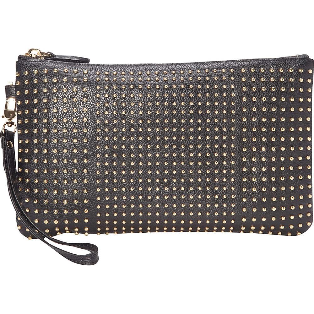 HButler The Mighty Purse Phone Charging Stud Wristlet Black with Gold Studs HButler Leather Handbags