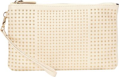 HButler The Mighty Purse Phone Charging Stud Wristlet Cream with Gold Studs - HButler Leather Handbags