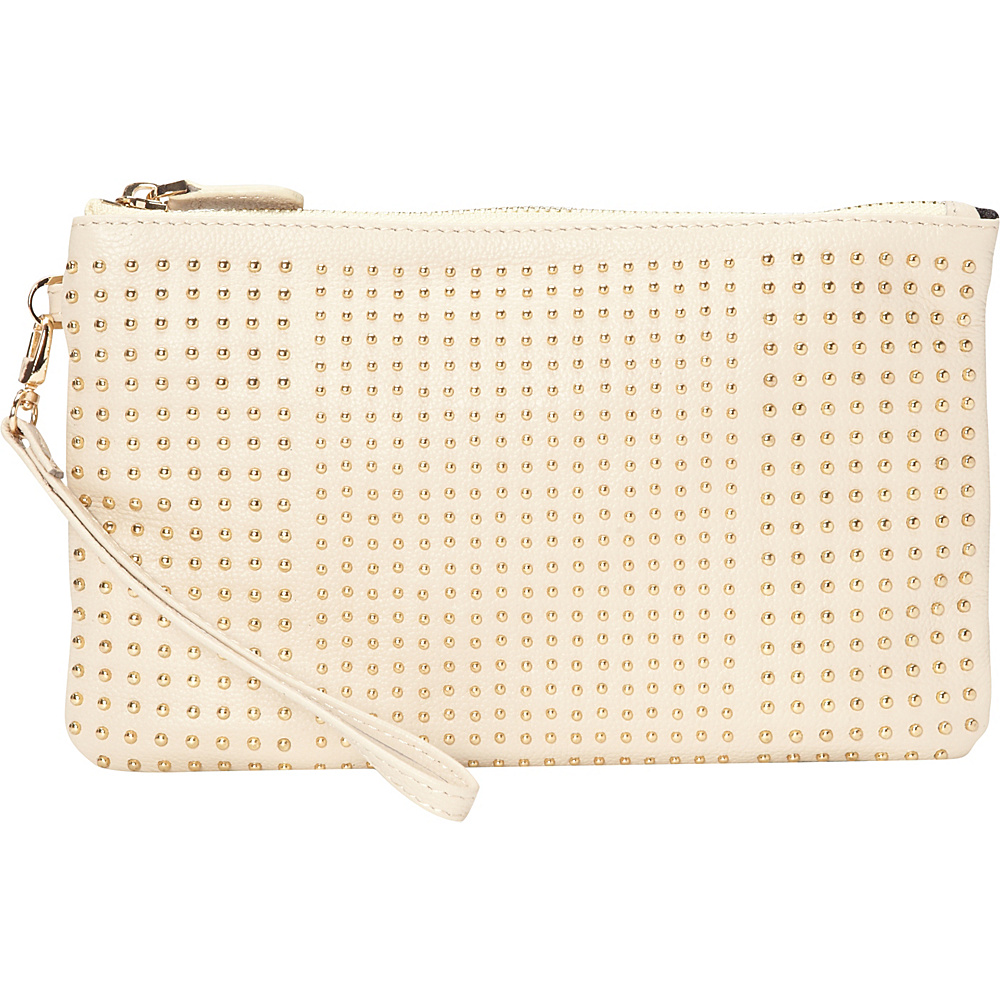 HButler The Mighty Purse Phone Charging Stud Wristlet Cream with Gold Studs HButler Leather Handbags