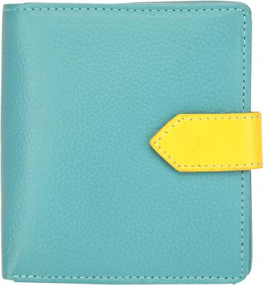 Image of Ann Shelby Desiree Compact Leather Ladies Wallet Blue - Ann Shelby Ladies Small Wallets