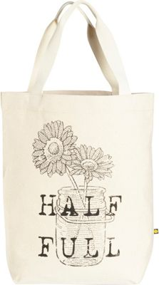 Life is good Engraved Message Tote Natural - Half Full - Life is good Fabric Handbags