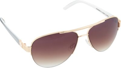 SouthPole Eyewear Semi Rimless Aviator Sunglasses Gold/White/Grey - SouthPole Eyewear Sunglasses