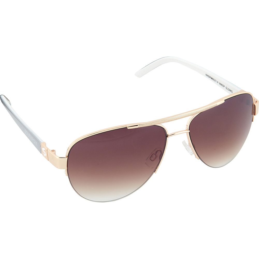 SouthPole Eyewear Semi Rimless Aviator Sunglasses Gold White Grey SouthPole Eyewear Sunglasses