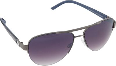 SouthPole Eyewear Semi Rimless Aviator Sunglasses Gun/Blue/Black - SouthPole Eyewear Sunglasses
