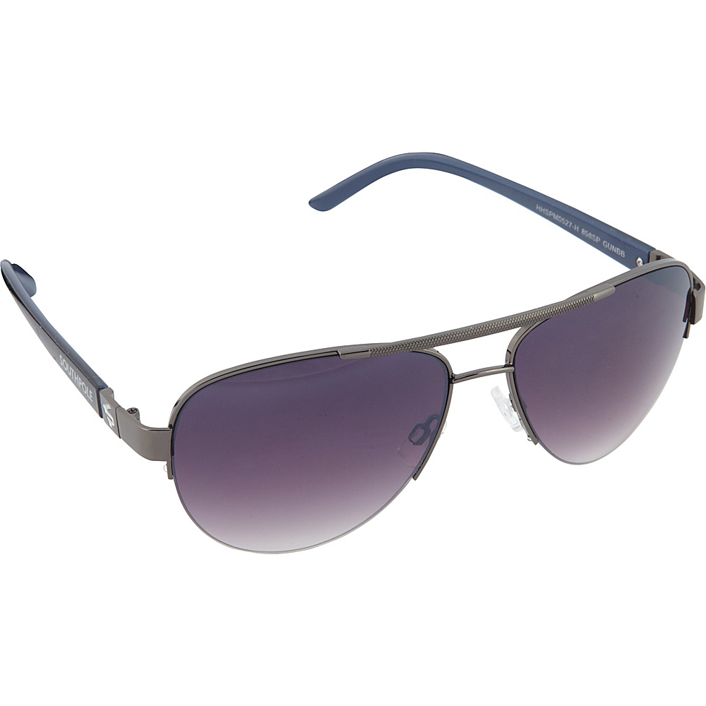 SouthPole Eyewear Semi Rimless Aviator Sunglasses Gun Blue Black SouthPole Eyewear Sunglasses