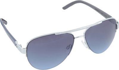 SouthPole Eyewear Semi Rimless Aviator Sunglasses Silver/Grey/Blue - SouthPole Eyewear Sunglasses