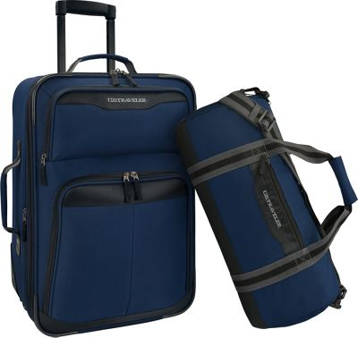 U.S. Traveler 2-Piece Carry-On Rolling Upright & Duffel Bag Luggage Set Navy - U.S. Traveler Luggage Sets