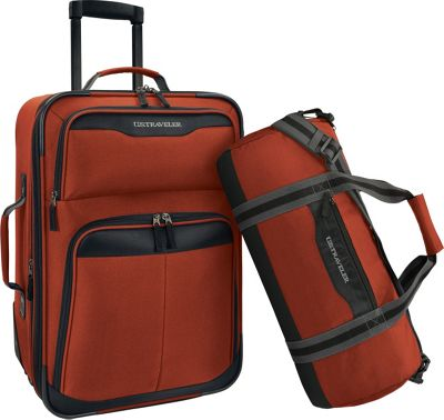 U.S. Traveler 2-Piece Carry-On Rolling Upright & Duffel Bag Luggage Set Salmon - U.S. Traveler Luggage Sets