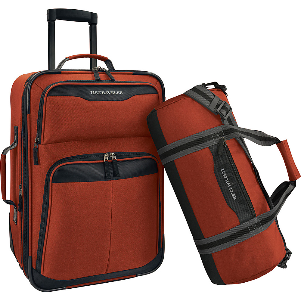 U.S. Traveler 2 Piece Carry On Rolling Upright Duffel Bag Luggage Set Salmon U.S. Traveler Luggage Sets