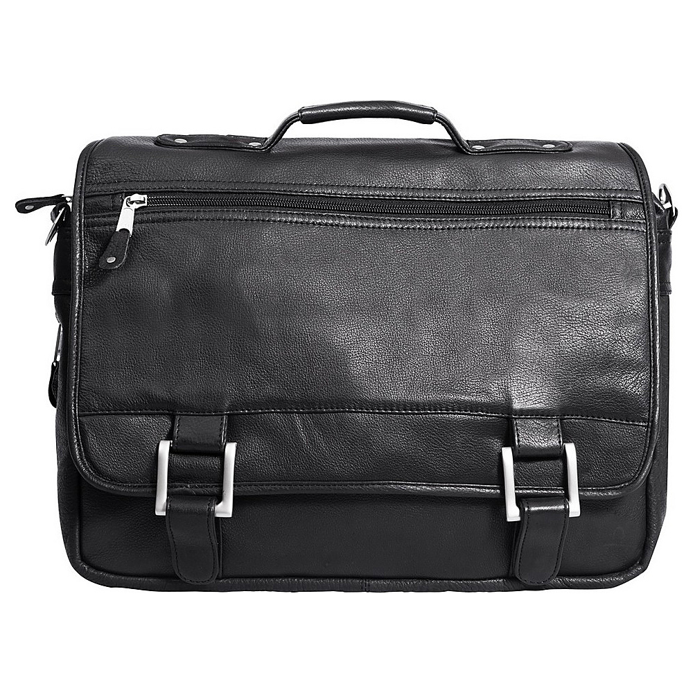 Canyon Outback Leather Copper Canyon Leather Expandable Briefcase Black - Canyon Outback Non-Wheeled Business Cases