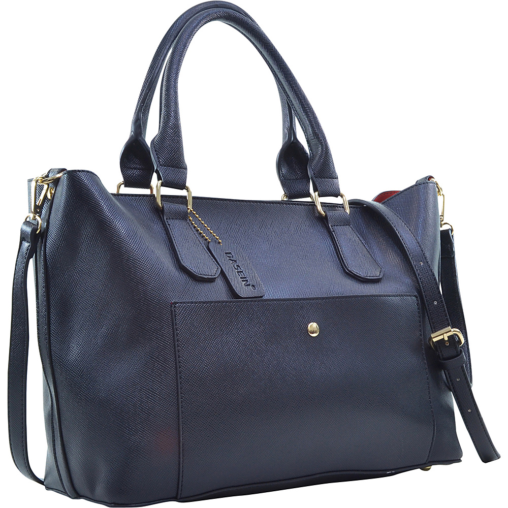 Dasein 2-in-1 Satchel with Front Snap Pocket Black - Dasein Manmade Handbags - Handbags, Manmade Handbags