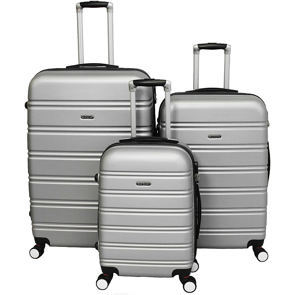 World Traveler Regis 3-Piece Hardside Expandable Spinner Luggage Set Silver - World Traveler Luggage Sets - Luggage, Luggage Sets