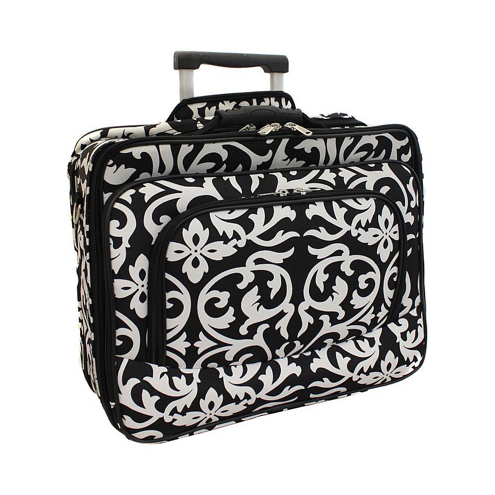 World Traveler Damask Rolling 17 Laptop Case Black Trim Damask - World Traveler Non-Wheeled Business Cases - Work Bags & Briefcases, Non-Wheeled Business Cases