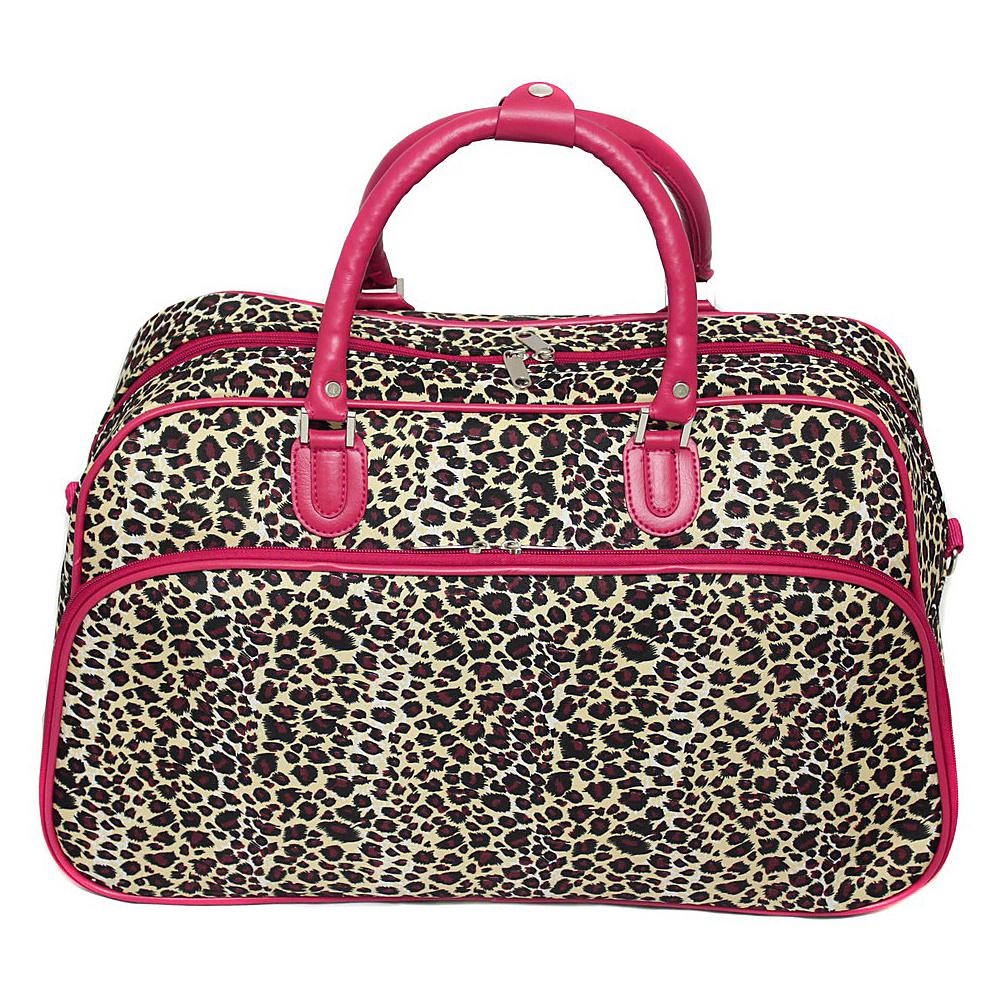 World Traveler Leopard 21 Carry-On Duffel Bag Pink Trim Leopard - World Traveler Rolling Duffels - Luggage, Rolling Duffels