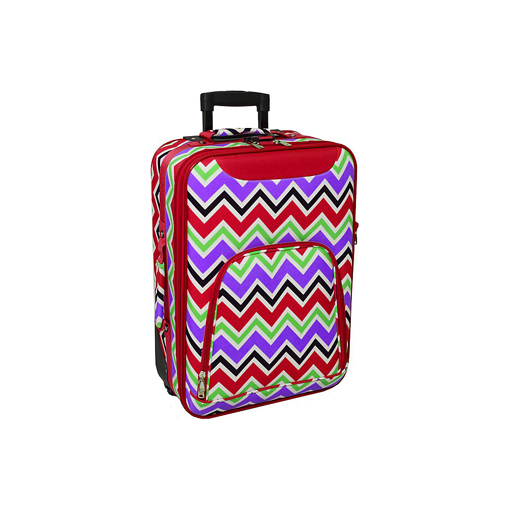 World Traveler Chevron Multi 20 Rolling Carry-On Red Trim Chevron Multi - World Traveler Softside Carry-On - Luggage, Softside Carry-On