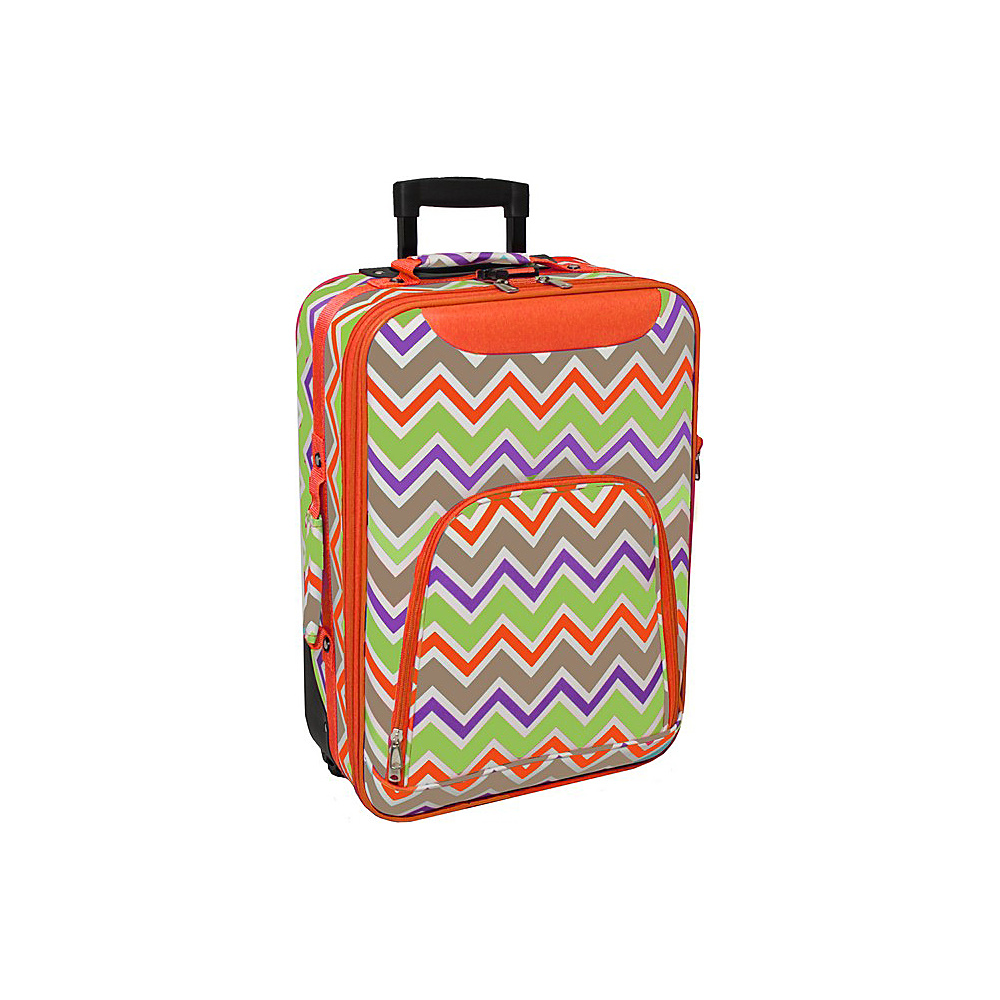 World Traveler Chevron Multi 20 Rolling Carry-On Orange Trim Chevron Multi - World Traveler Softside Carry-On - Luggage, Softside Carry-On