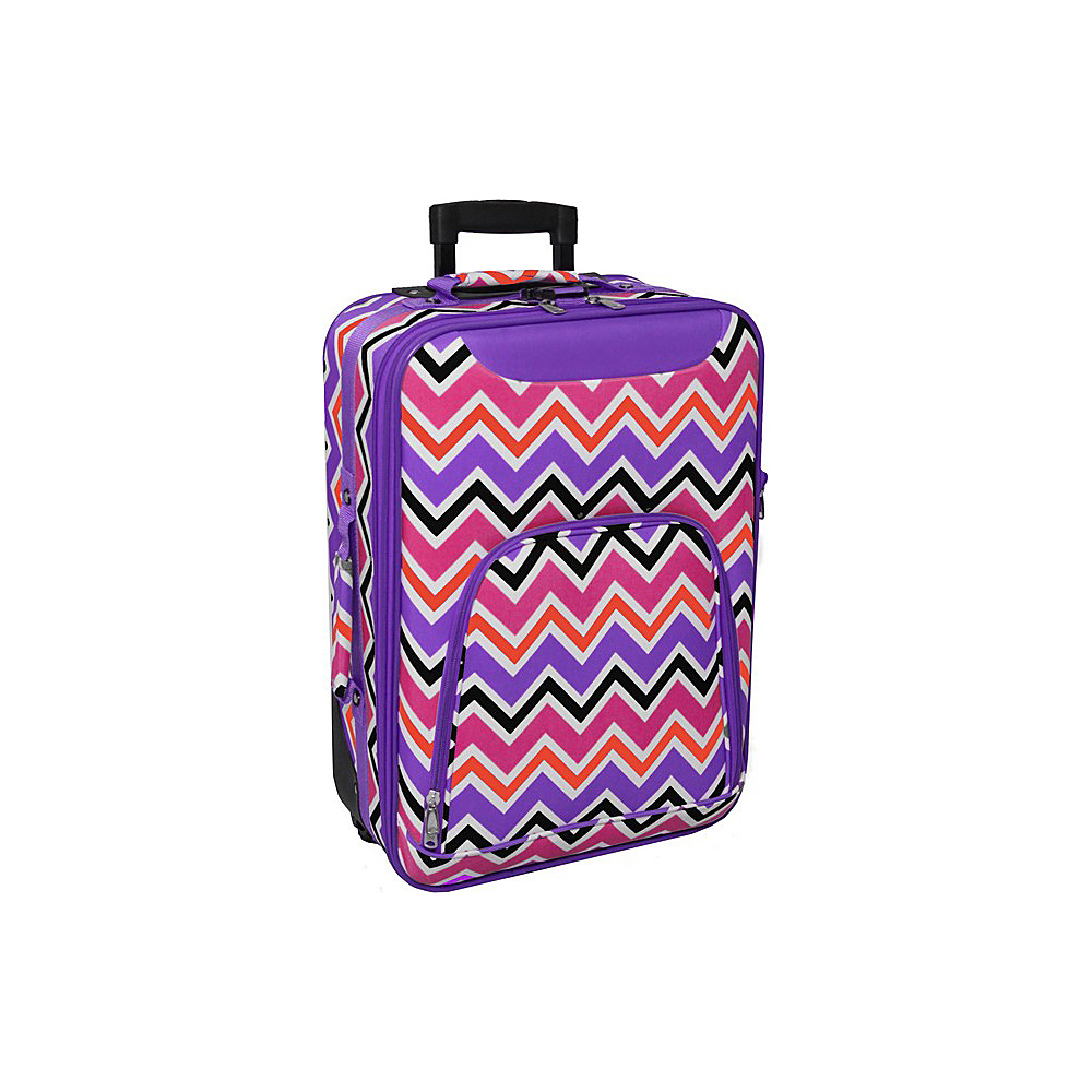 World Traveler Chevron Multi 20 Rolling Carry-On Purple Trim Chevron Multi - World Traveler Softside Carry-On - Luggage, Softside Carry-On