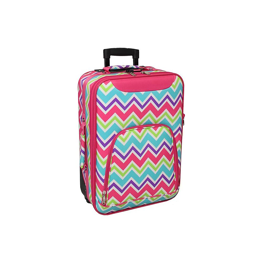 World Traveler Chevron Multi 20 Rolling Carry-On Pink Trim Chevron Multi - World Traveler Softside Carry-On - Luggage, Softside Carry-On