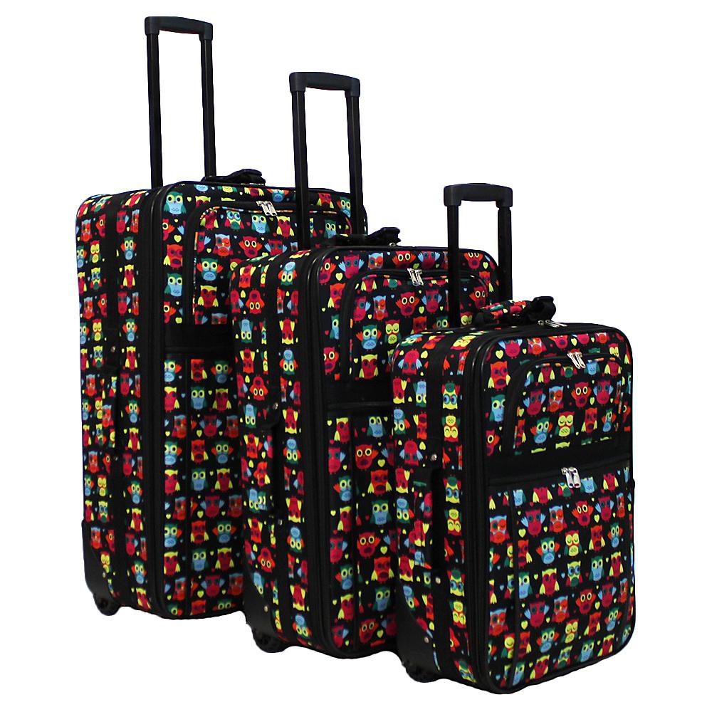 World Traveler Owl 3-Piece Expandable Upright Luggage Set Owl Black - World Traveler Luggage Sets - Luggage, Luggage Sets
