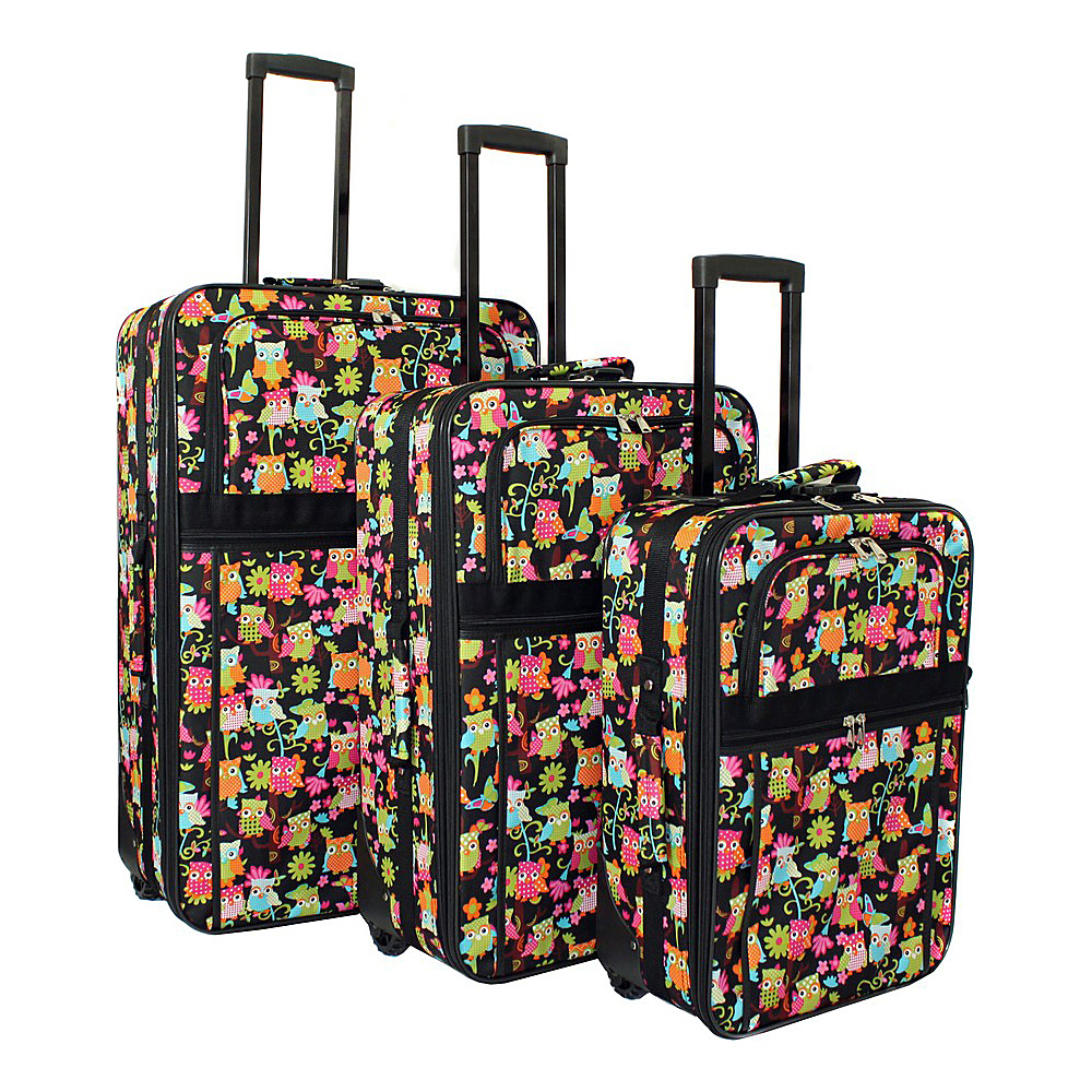 World Traveler Owl 3-Piece Expandable Upright Luggage Set Multi Owl - World Traveler Luggage Sets - Luggage, Luggage Sets