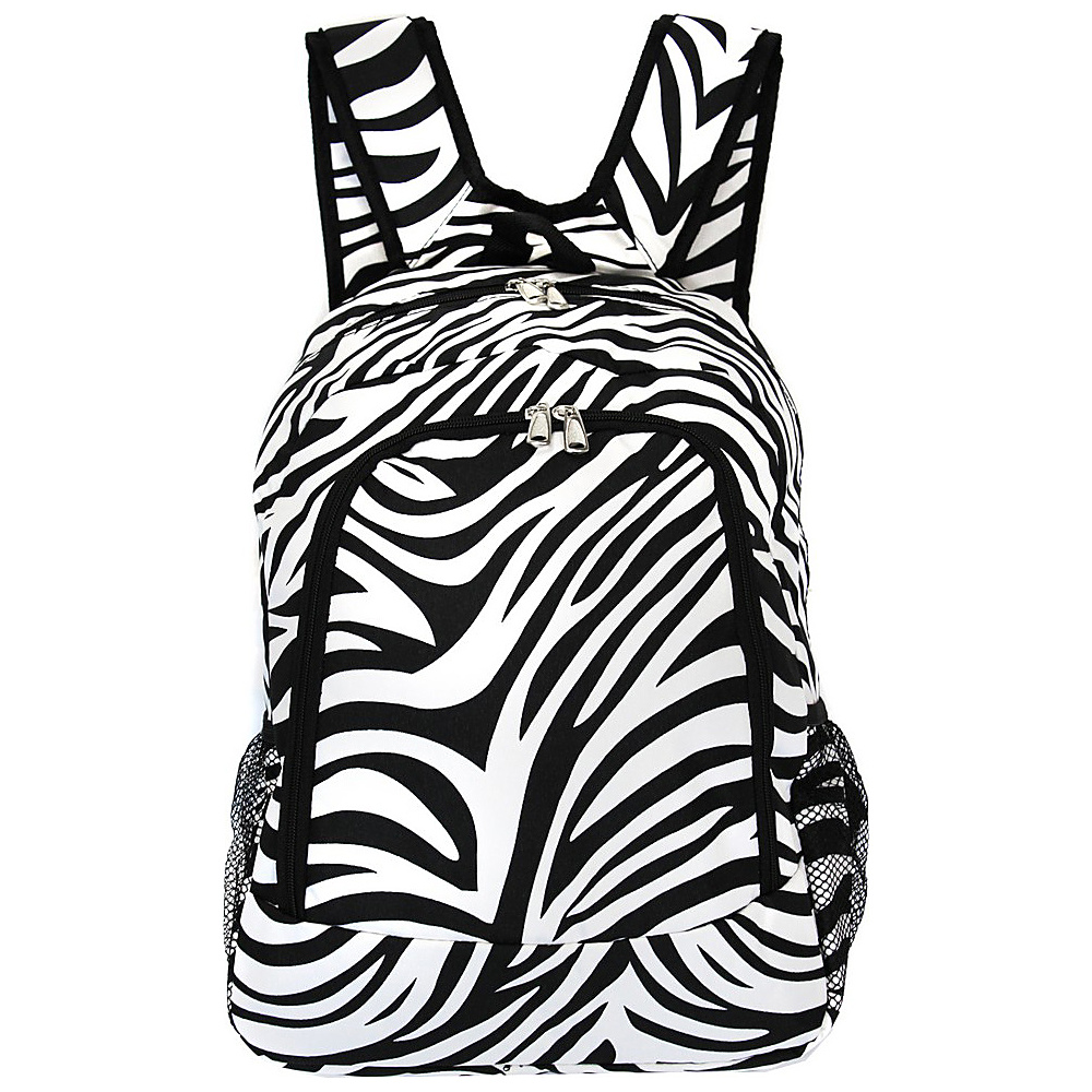 World Traveler Zebra 16 Multipurpose Backpack Black Trim Zebra World Traveler Everyday Backpacks