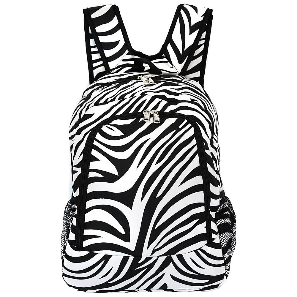 World Traveler Zebra 16 Multipurpose Backpack Black Trim Zebra - World Traveler Everyday Backpacks - Backpacks, Everyday Backpacks