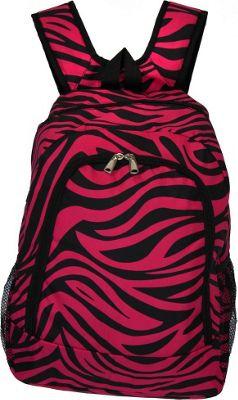 World Traveler Zebra 16 inch Multipurpose Backpack Fuchsia Black Zebra - World Traveler Everyday Backpacks