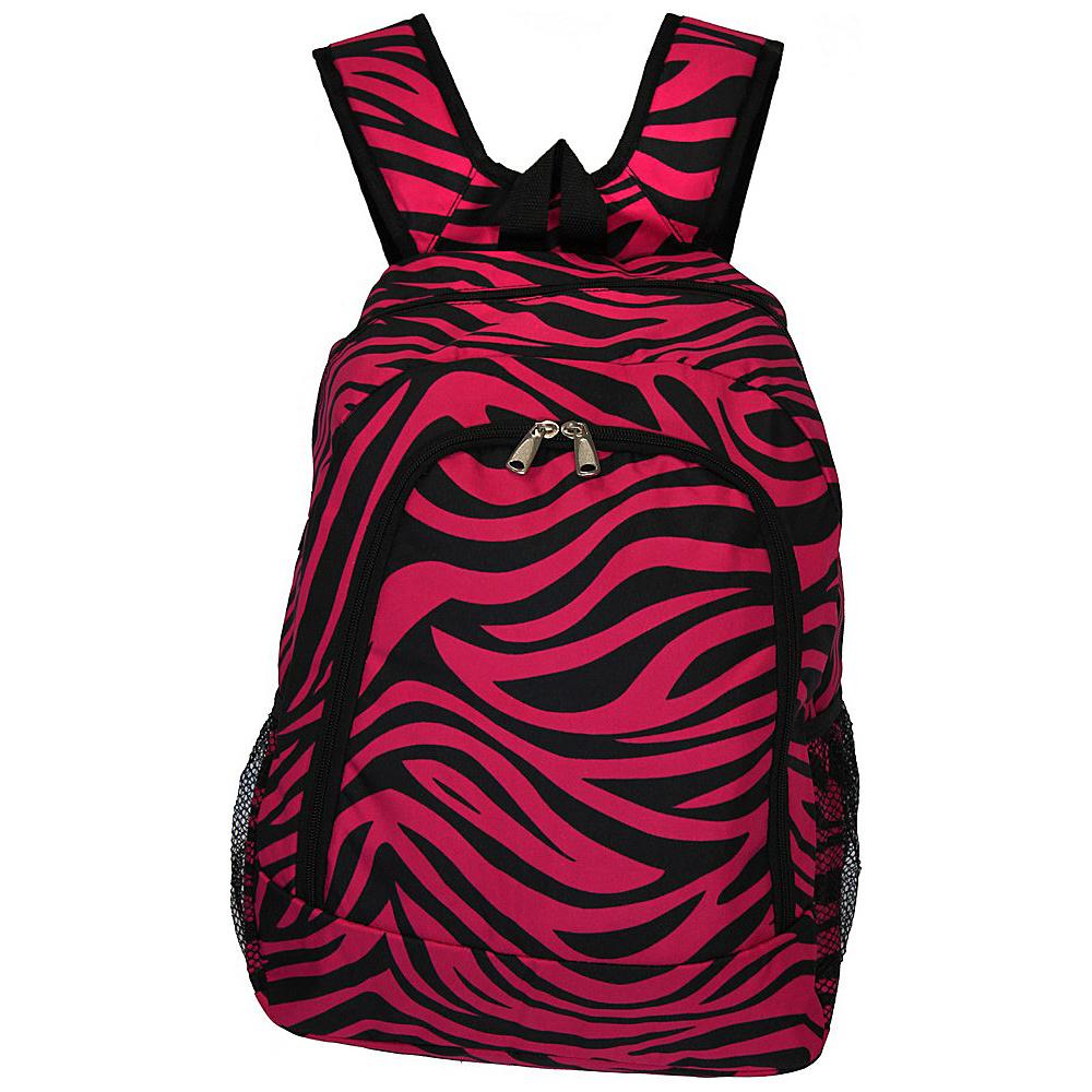 World Traveler Zebra 16 Multipurpose Backpack Fuchsia Black Zebra - World Traveler Everyday Backpacks - Backpacks, Everyday Backpacks