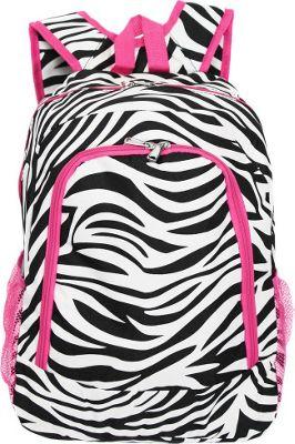 World Traveler Zebra 16 inch Multipurpose Backpack Pink Trim Zebra - World Traveler Everyday Backpacks