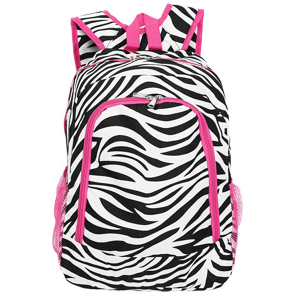 World Traveler Zebra 16 Multipurpose Backpack Pink Trim Zebra - World Traveler Everyday Backpacks - Backpacks, Everyday Backpacks