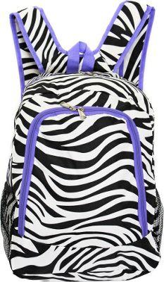World Traveler Zebra 16 inch Multipurpose Backpack Light Purple Trim Zebra - World Traveler Everyday Backpacks