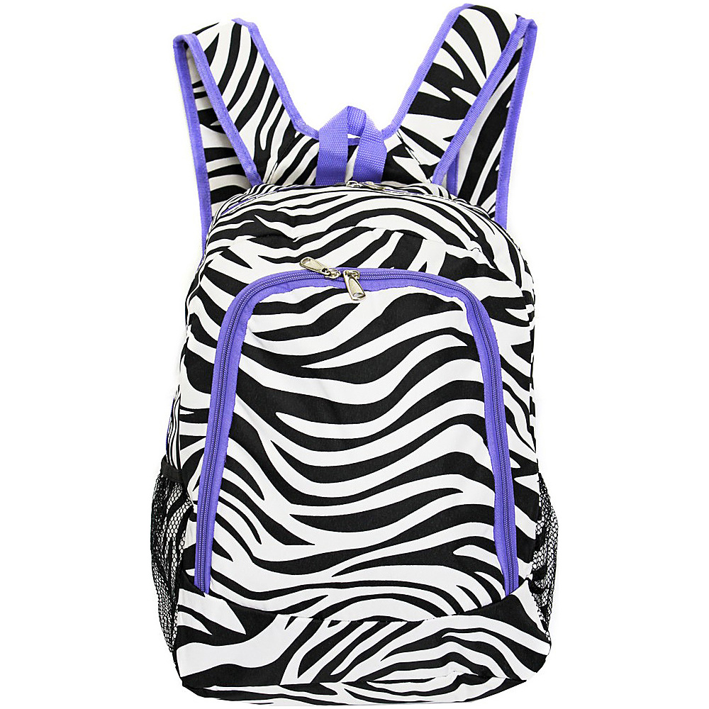 World Traveler Zebra 16 Multipurpose Backpack Light Purple Trim Zebra World Traveler Everyday Backpacks