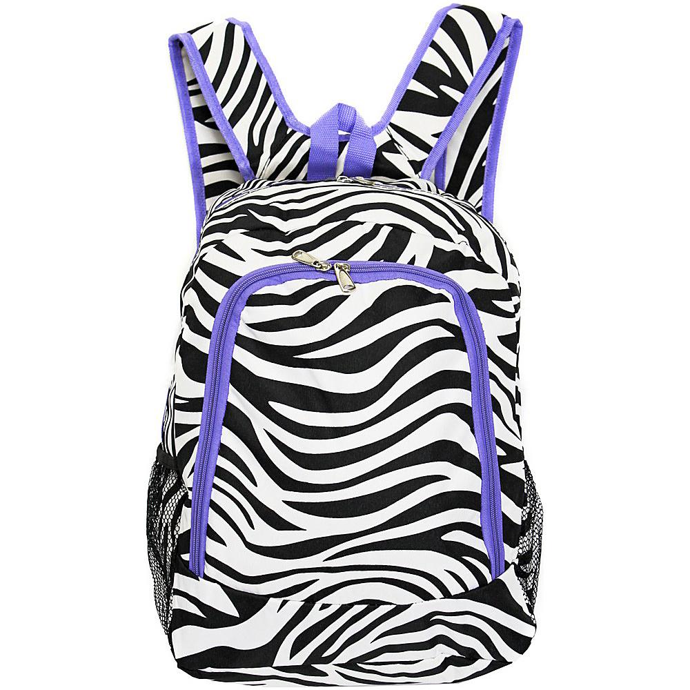 World Traveler Zebra 16 Multipurpose Backpack Light Purple Trim Zebra - World Traveler Everyday Backpacks - Backpacks, Everyday Backpacks