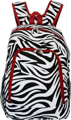 World Traveler Zebra 16 inch Multipurpose Backpack Red Trim Zebra - World Traveler Everyday Backpacks