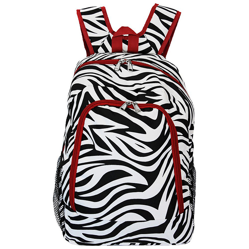 World Traveler Zebra 16 Multipurpose Backpack Red Trim Zebra World Traveler Everyday Backpacks