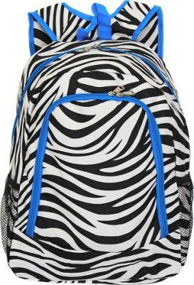 World Traveler Zebra 16 inch Multipurpose Backpack Teal Trim Zebra - World Traveler Everyday Backpacks
