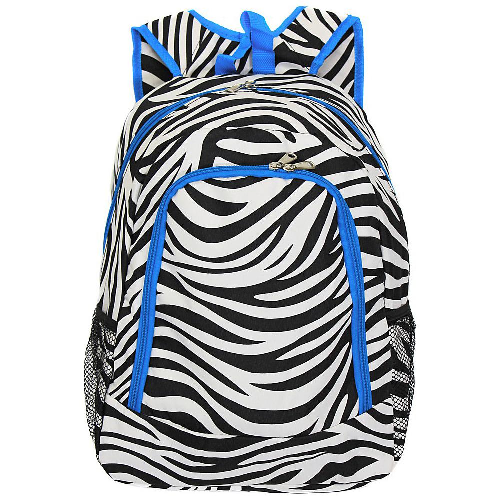 World Traveler Zebra 16 Multipurpose Backpack Teal Trim Zebra - World Traveler Everyday Backpacks - Backpacks, Everyday Backpacks