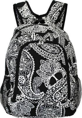 World Traveler Paisley 16 inch Multipurpose Backpack Black White Paisley - World Traveler Everyday Backpacks