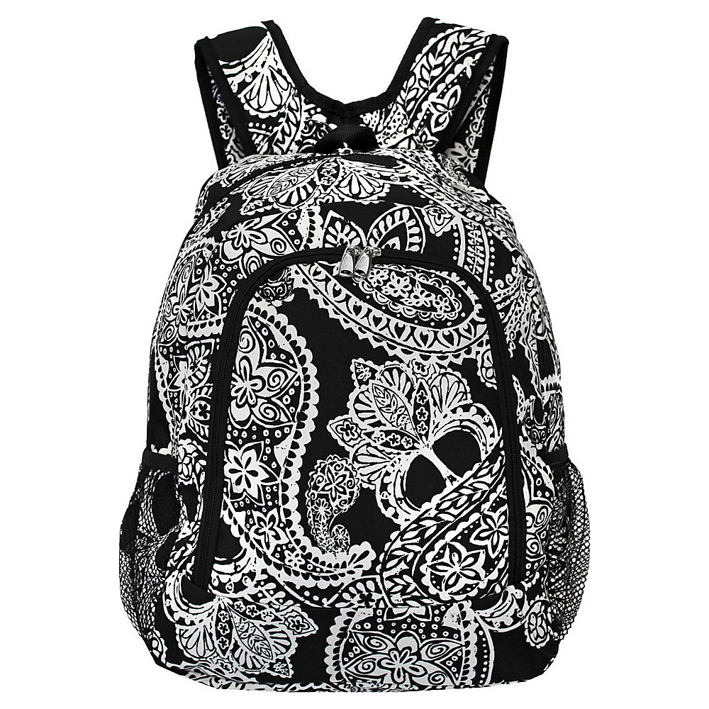 World Traveler Paisley 16 Multipurpose Backpack Black White Paisley World Traveler Everyday Backpacks