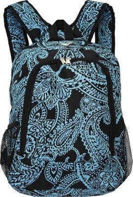World Traveler Paisley 16 inch Multipurpose Backpack Black Blue Paisley - World Traveler Everyday Backpacks