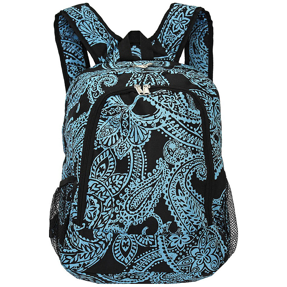 World Traveler Paisley 16 Multipurpose Backpack Black Blue Paisley World Traveler Everyday Backpacks
