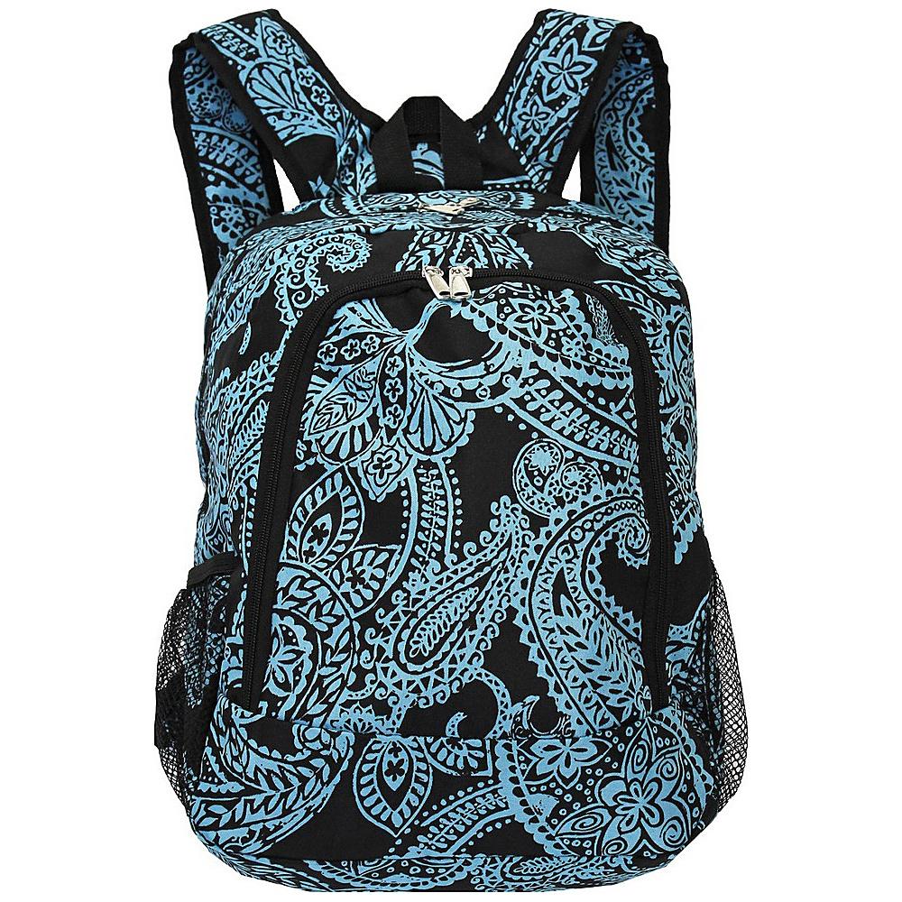 World Traveler Paisley 16 Multipurpose Backpack Black Blue Paisley - World Traveler Everyday Backpacks - Backpacks, Everyday Backpacks