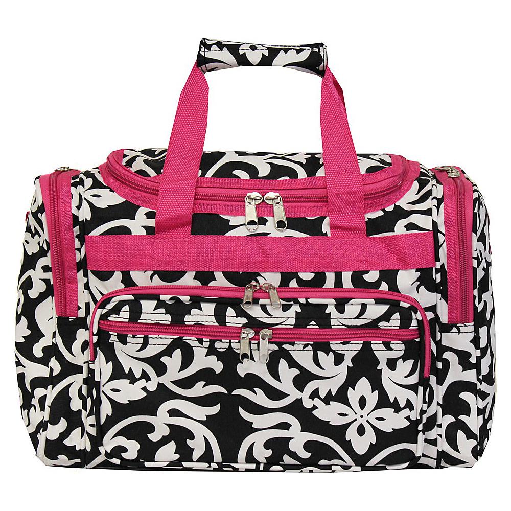 World Traveler Damask 16 Shoulder Duffle Bag Pink Trim Damask - World Traveler Rolling Duffels - Luggage, Rolling Duffels