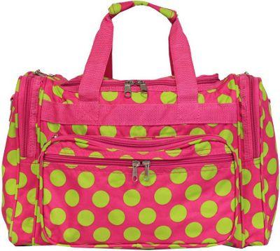 World Traveler Dots ll 16 inch Shoulder Duffle Bag Fuchsia Lime Dot II - World Traveler Rolling Duffels