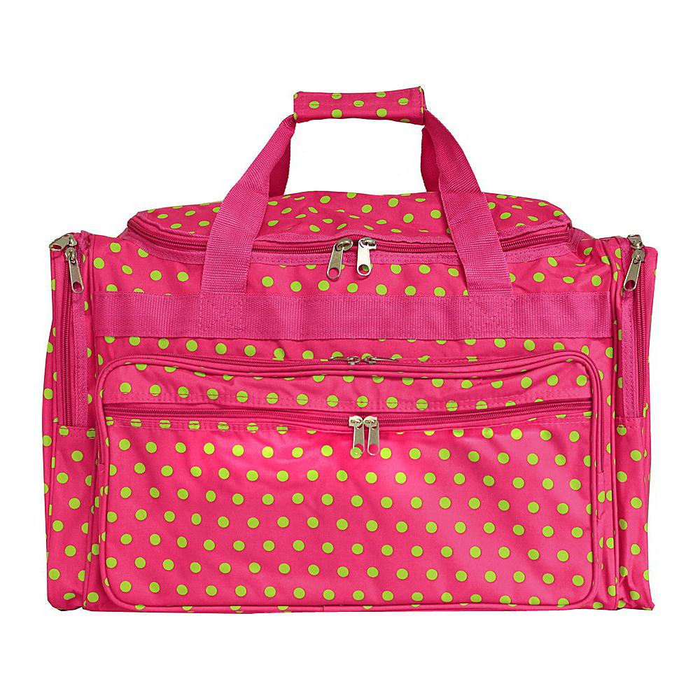 World Traveler Dots 19 Shoulder Duffle Bag Fuchsia Lime Dot - World Traveler Rolling Duffels - Luggage, Rolling Duffels