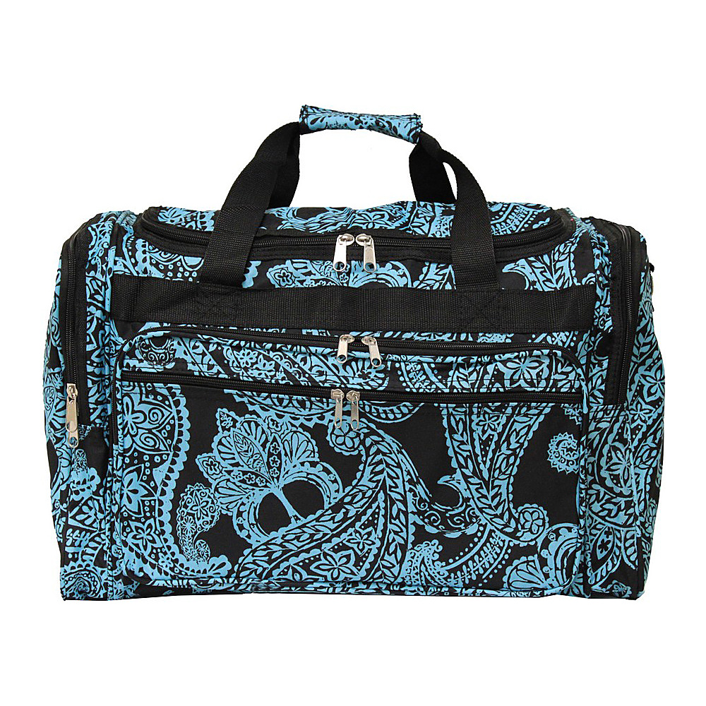 World Traveler Paisley 19 Shoulder Duffle Bag Black Blue Paisley - World Traveler Rolling Duffels - Luggage, Rolling Duffels