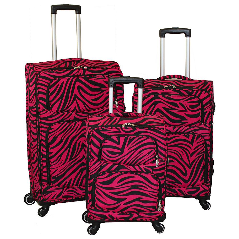 World Traveler Zebra 3-Piece Expandable Upright Spinner Luggage Set Fuchsia Black Zebra - World Traveler Luggage Sets - Luggage, Luggage Sets